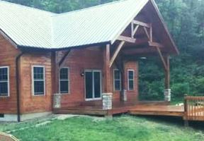 Wood finishes on cedar sided Timberframe cabin. Scio, Oh.