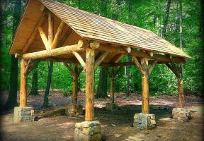 Hand crafted log pavilion. Polk, OH.